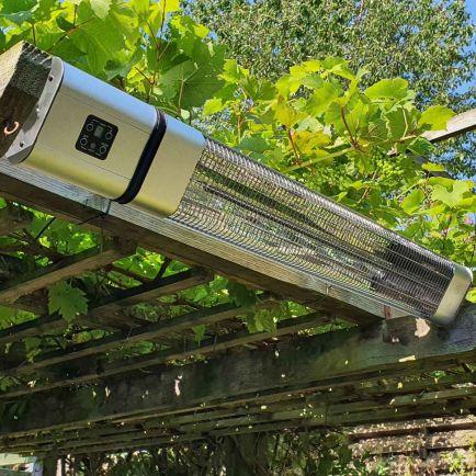 Ecostrad Cirrus Infrared Patio Heater - Silver 2.4kw with Remote