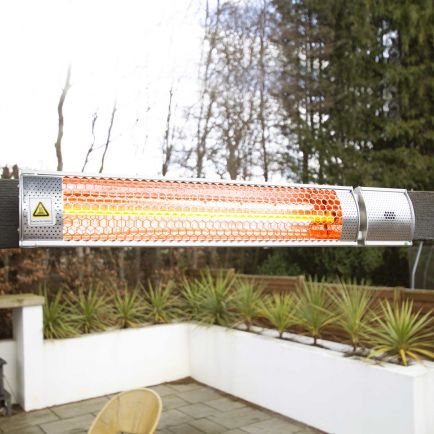 Ecostrad Sunglo Infrared Patio Heater - Silver 2kW with Remote