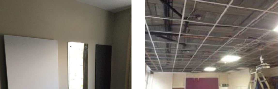 Infrared heating panels installed on wall and in a suspended ceiling grid