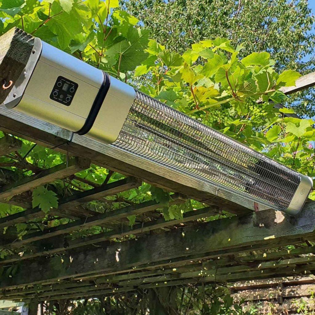 Ecostrad Cirrus Infrared Patio Heater Silver 2.4kw with Remote